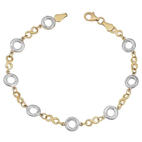 Fremada 14k Two-tone Gold Alternate Love Knot and Infinity Link Bracelet