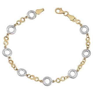 Fremada 14k Two-tone Gold Alternate Love Knot and Infinity Link Bracelet