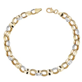 Fremada 14k Two-tone Gold Diamond-cut and High Polish Reversible Round Link Bracelet