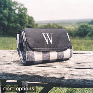 Personalized Black & White Plaid Tailgate Picnic Blanket - 59 x 53