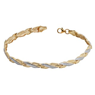 Fremada 14k Two-tone Gold Alternate Diamond-cut and Polish Fancy Link Bracelet