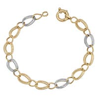 Fremada 14k Two-tone Gold Stylish Diamond-cut Oval Link Bracelet