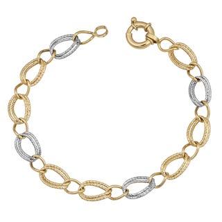 Fremada 14k Two-tone Gold Stylish Diamond-cut Oval Link Bracelet