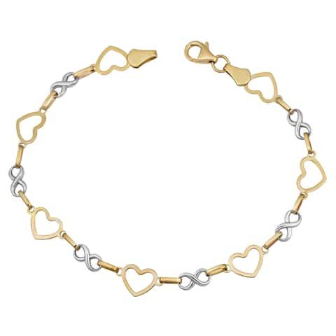 Fremada 14k Two-tone Gold Alternate Heart and Infinity Link Bracelet