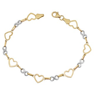Fremada 14k Two-tone Gold Alternate Heart and Infinity Link Bracelet