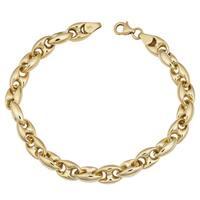 Fremada 14k Yellow Gold High Polish Puffed Mariner Link Bracelet