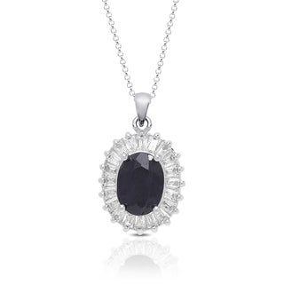 Dolce Giavonna Silver Overlay Sapphire and Cubic Zirconia Oval Necklace
