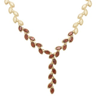 Dolce Giavonna Gold Overlay Gemstone Leaf Design Necklace