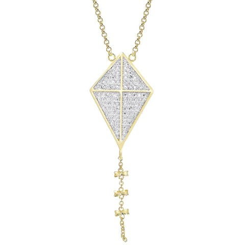 Finesque Gold Overlay Diamond Accent Kite Design Necklace