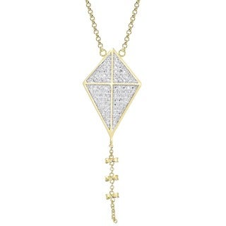 Finesque Gold Overlay Diamond Accent Kite Design Necklace