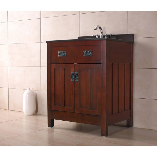 OVE Decors Cain 28 Inch Dark Walnut Singe Sink Bathroom Vanity