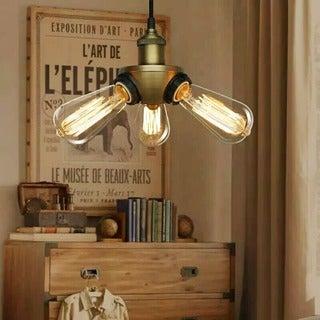Liia 3-light Black Adjustable Height Edison Pendant Lamp with Bulbs