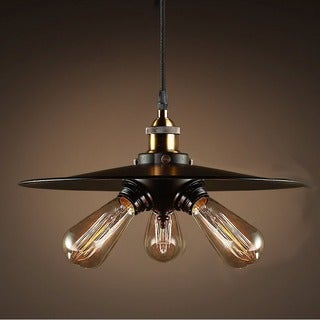 Shandi 3-light Black Adjustable Height 16-inch Edison Pendant with Bulbs