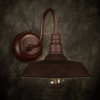Nellie 1-light Rusty Steel 10-inch Edison Wall Lamp with Bulb