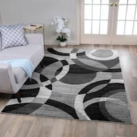 Contemporary Modern Circles Grey Area Abstract Rug - 3'3 x 5'