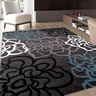 Contemporary Modern Floral Flowers Grey Area Rug (3'3 x 5')