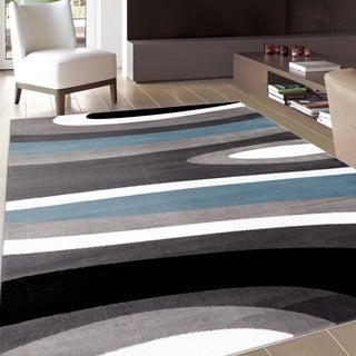 Abstract Contemporary Modern Blue Area Rug (3'3 x 5')