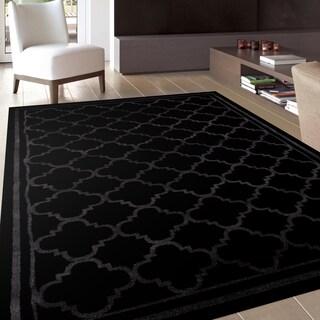 Trellis Contemporary Modern Design Black Area Rug (3'3 x 5')