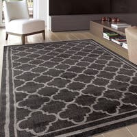 Trellis Contemporary Modern Design Dark Grey Area Rug - 3'3 x 5'