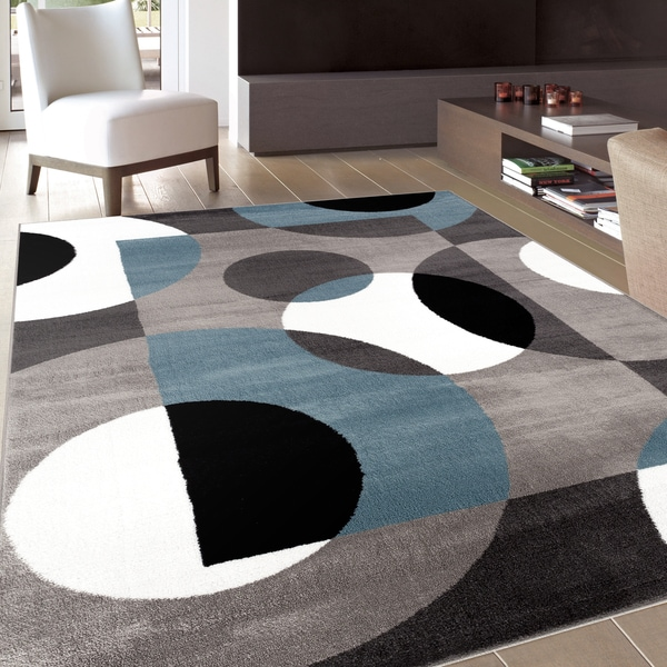 Shop Modern Circles Blue Area Rug 5 3 X 7 3 On Sale