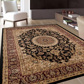 Traditional Oriental Medallion Design Black Area Rug (5'3 x 7'3)
