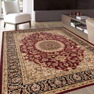 Traditional Oriental Medallion Design Burgundy Area Rug (5'3 x 7'3)