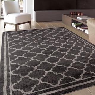 trellis modern design dark grey area rug 5u00273 x