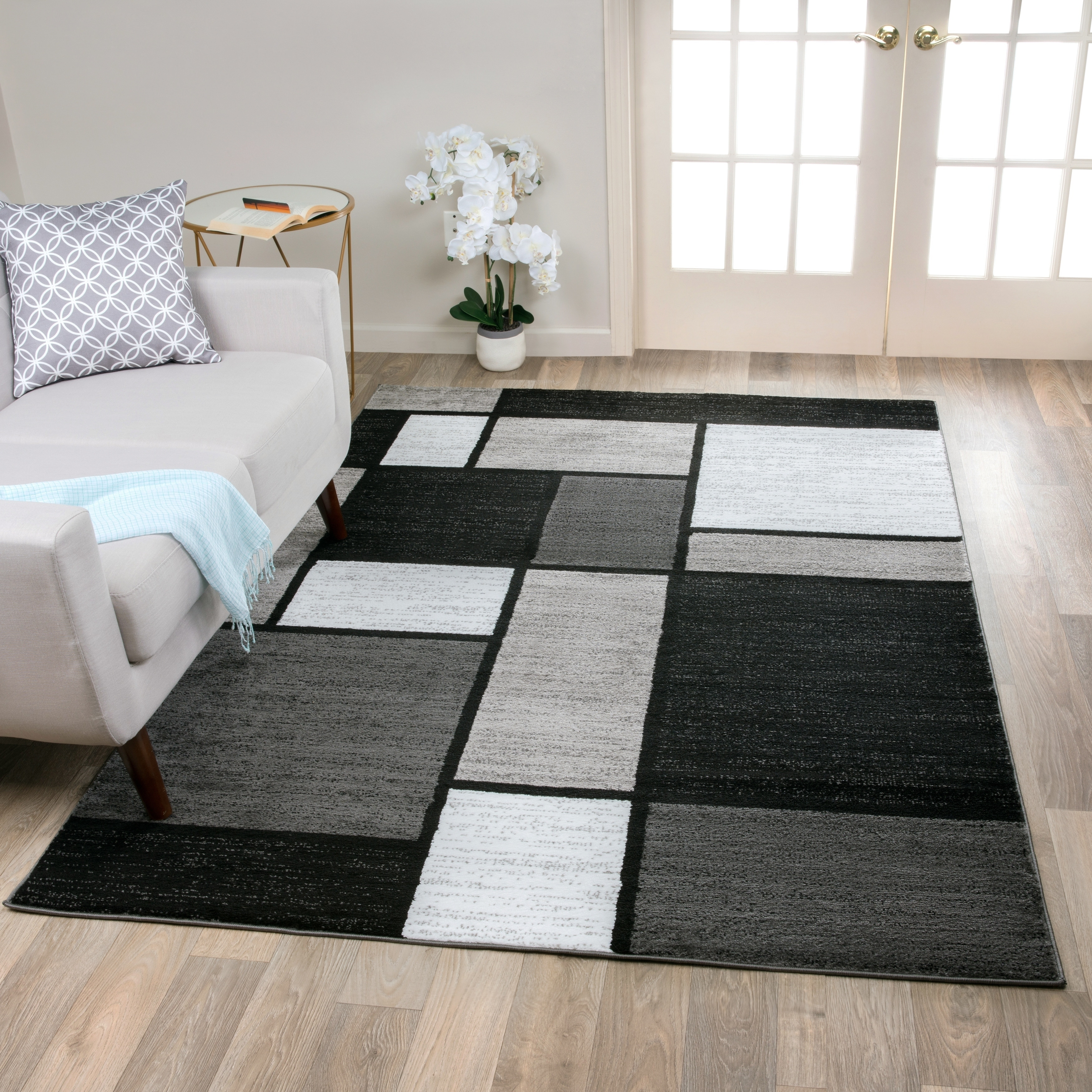 Contemporary Modern Bo Grey Area Rug
