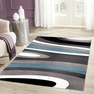 Abstract Contemporary Modern Blue Area Rug (5'3 x 7'3)