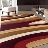 Abstract Contemporary Modern Beige Burgundy Area Rug (5'3 x 7'3)