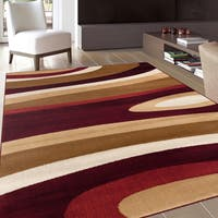 Abstract Contemporary Modern Beige Burgundy Area Rug - 5'3 x 7'3