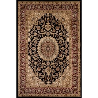Traditional Oriental Medallion Design Black Area Rug (2' x 3')