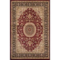 Traditional Oriental Medallion Design Burgundy Area Rug - 2' x 3'