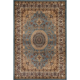 Traditional Oriental Medallion Design Blue Area Rug (2' x 3')