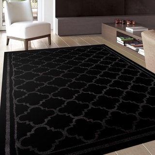 Trellis Contemporary Modern Design Black Area Rug (2' x 3')