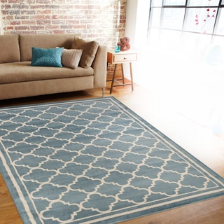 Trellis Contemporary Modern Design Blue Area Rug (2' x 3')