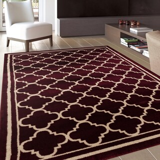Trellis Contemporary Modern Design Burgundy Area Rug (2' x 3')