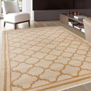 Trellis Contemporary Modern Design Cream Area Rug (2' x 3')