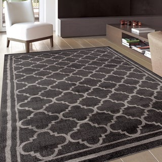 Trellis Contemporary Modern Design Dark Grey Area Rug (2' x 3')