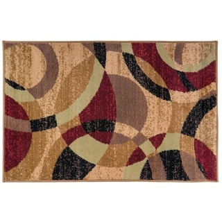 Contemporary Modern Circles Multi Area Abstract Rug (2' x 3')