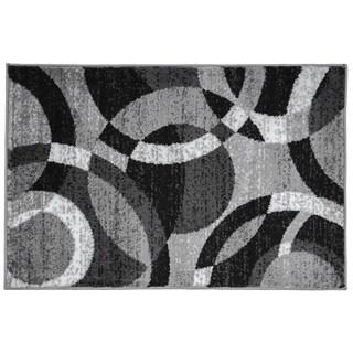 Contemporary Modern Circles Grey Area Abstract Rug (2' x 3')