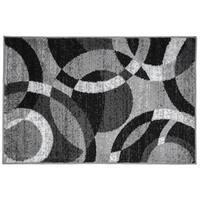 Contemporary Modern Circles Grey Area Abstract Rug - 2' x 3'