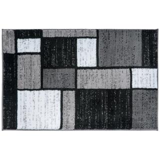 Contemporary Modern Boxes Grey Area Rug (2' x 3')