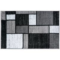 Contemporary Modern Boxes Grey Area Rug - 2' x 3'