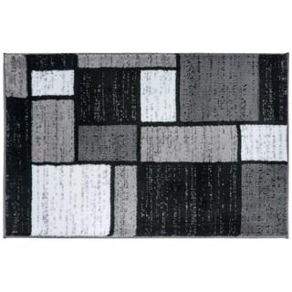 Contemporary Modern Boxes Grey Area Rug (2' x 3') - 2' X 3'