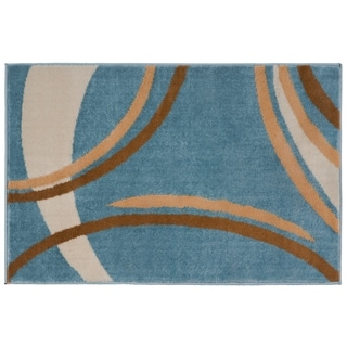 Contemporary Modern Wavy Circles Blue Area Rug (2' x 3')