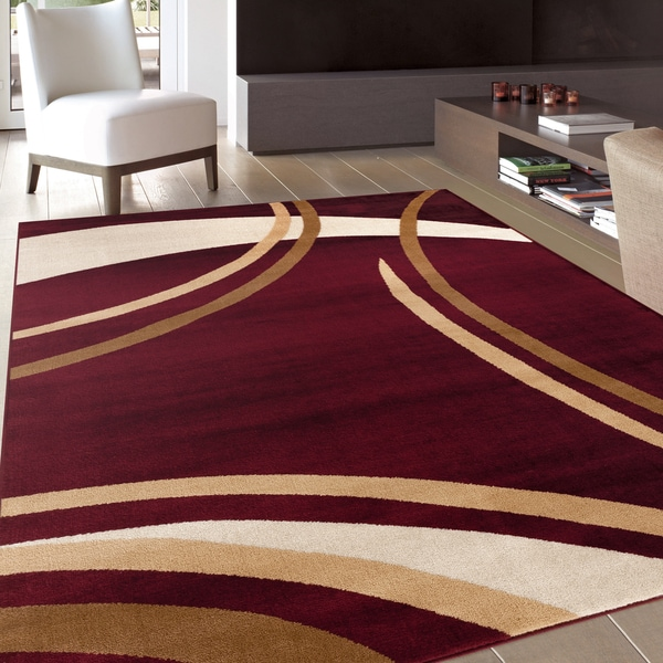 Contemporary Modern Wavy Circles Burgundy Area Rug 2 X 3