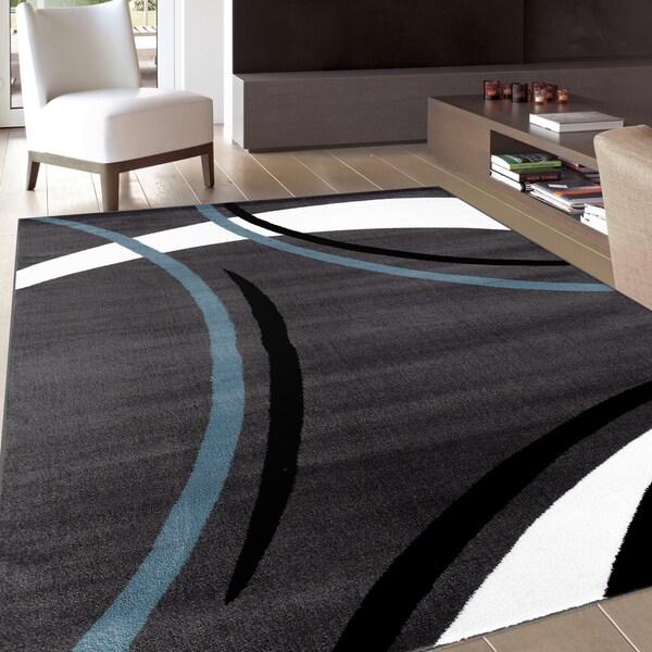 Contemporary Modern Wavy Circles Grey Area Rug (2' x 3')