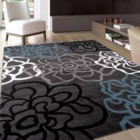 OSTI Floral Flowers Dark Grey Contemporary Modern Area Rug (2' x 3')