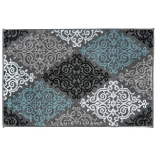Modern Transitional Soft Damask Grey Area Rug (2' x 3')